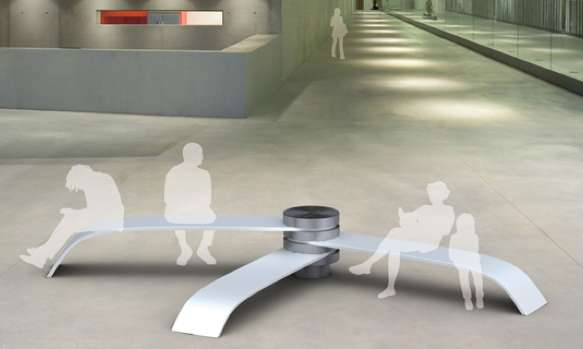 Pivoting Public Seating Fan Bench By Wang Chunyu