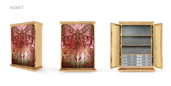 Elegant Butterfly-Patterned Cabinets