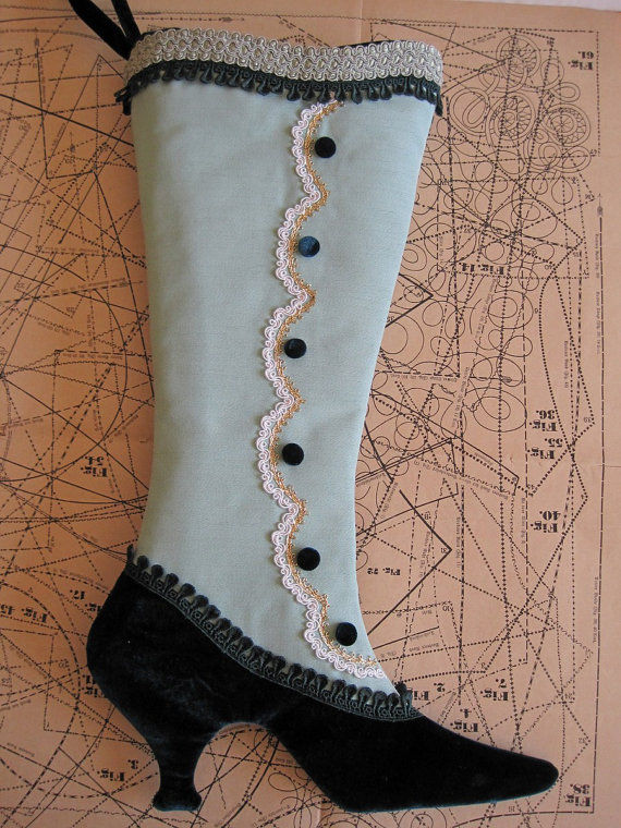 Victorian Shoe Stockings Fancy Christmas Stocking