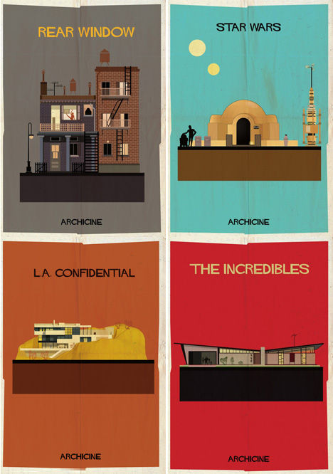 Iconic Cinematic Structure Drawings