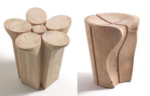 Sculptural Wood Seating  sc 1 st  Trend Hunter & Sculptural Wood Seating : Fiore and Delta Stools islam-shia.org
