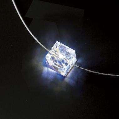Glowing Swarovski Cube Firejewel Necklace