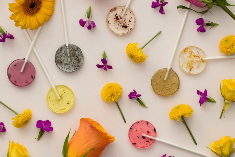 Floral Seed-Embedded Lollipops