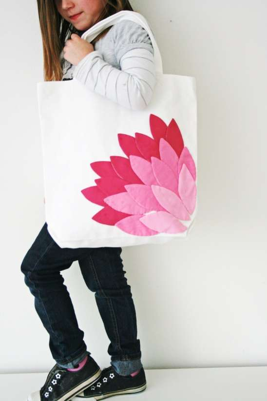 Lotus-Embellished Book Bags