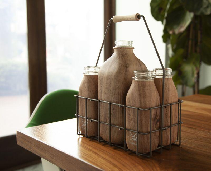 Milk Bottle-Inspired Water Glasses