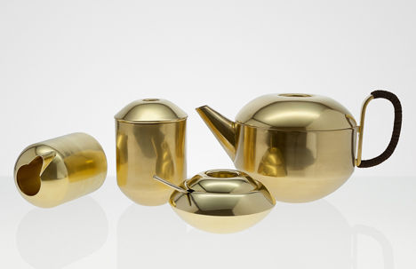 Bulbous Brass Tea Services