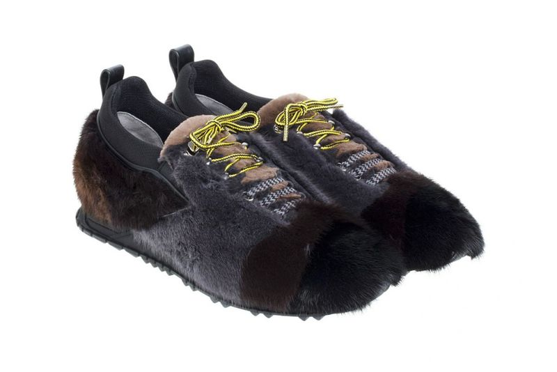 Color-Blocked Fur Sneakers