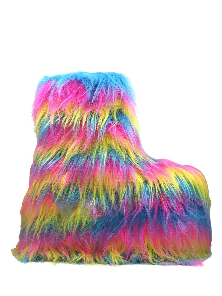Expressive Textured Footwear - YRU's Furry Boot Style Draws Inspiration from Club Kid Accessories (TrendHunter.com)
