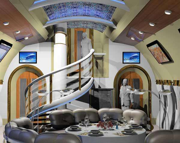 Futuristic vip aircraft interior excellence unveiled for Boeing 747 8 interieur