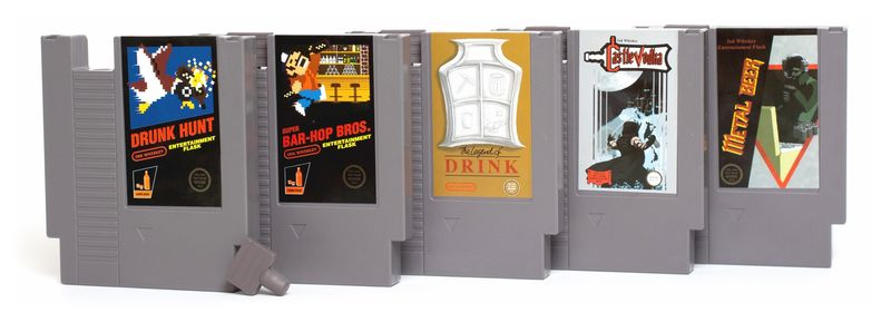 Retro Game Cartridge Flasks