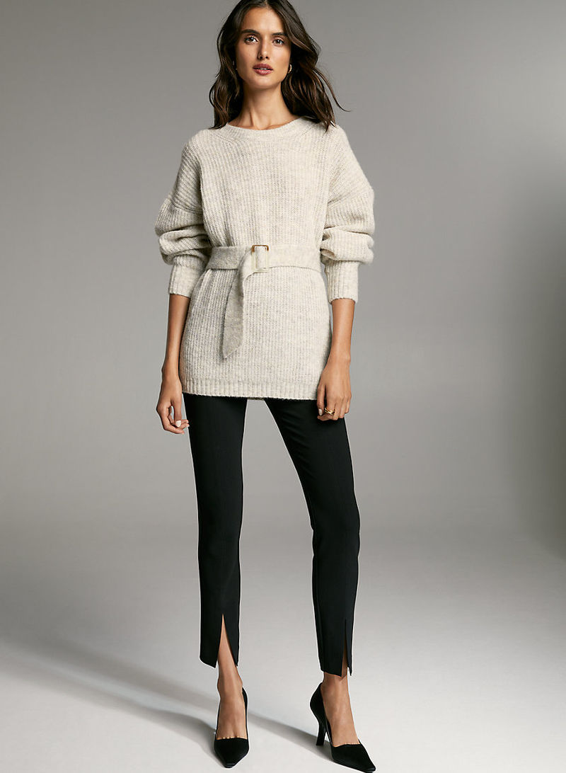Belted Boatneck Alpaca Sweaters