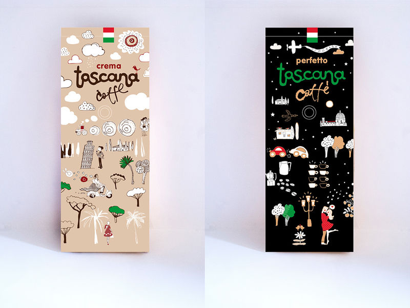 Quirky Illustrative Coffee Packaging