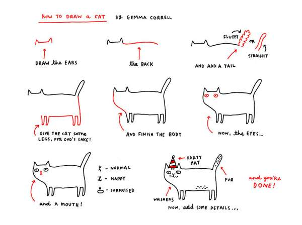 Funny Feline Sketching Instructions