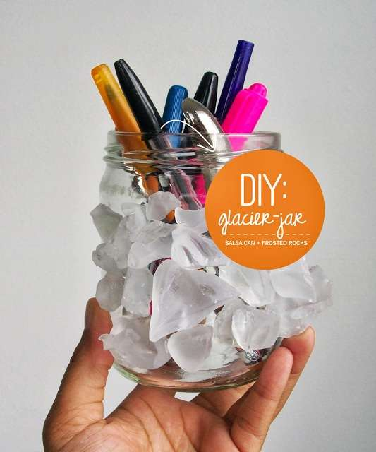 DIY Frosted Supply Jars