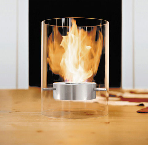 Glass Cylinder Fireplaces