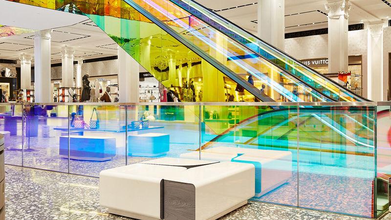 Striking Iridescent Glass Escalators