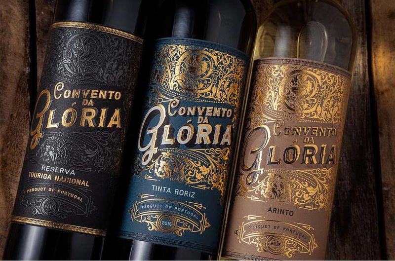 Gold-Embossed Wine Branding
