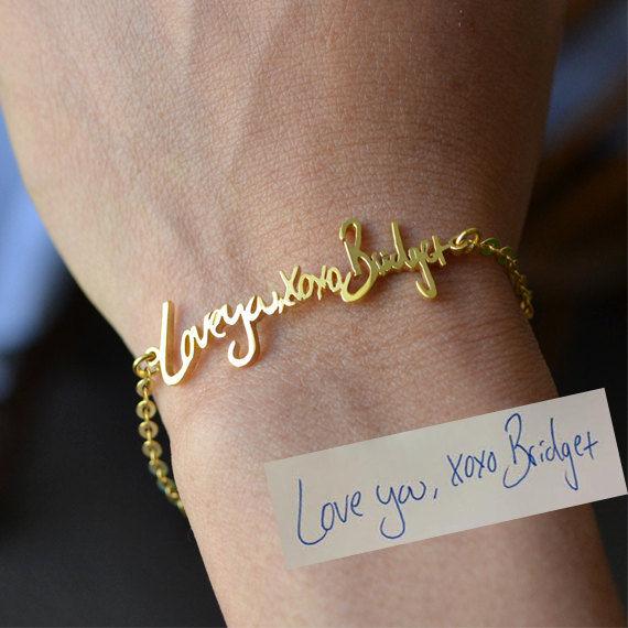Handwritten Signature Bracelets : golden bracelet