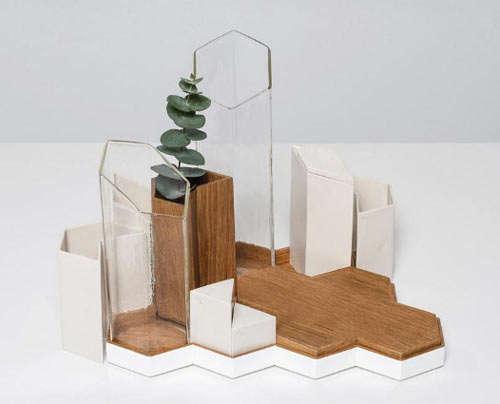 geometric vase geometric puzzle vases grid set
