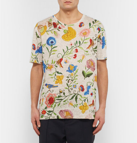 4ee064d07d2 Over-Sized Floral Linen Shirts   GUCCI Tee