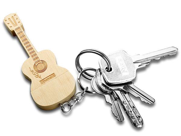 Wooden Guitar Keychains