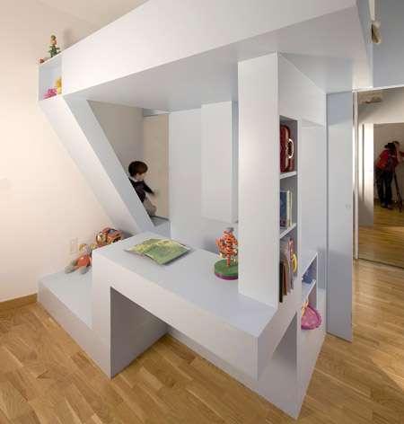 Do it all dorms children 39 s bed by h20 archtectes brings - Escalier rangement integre ...