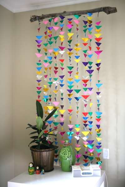 How To Make Wall Decoration Items : Diy hanging origami decor