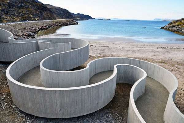 Winding Concrete Walkways