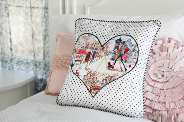 Romantically chic diy pillows heart applique