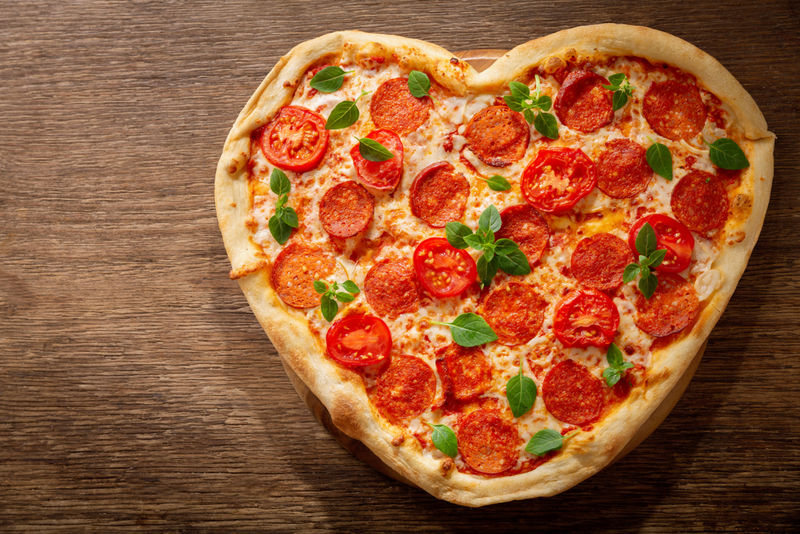 Romantic Heart-Shaped Pizzas