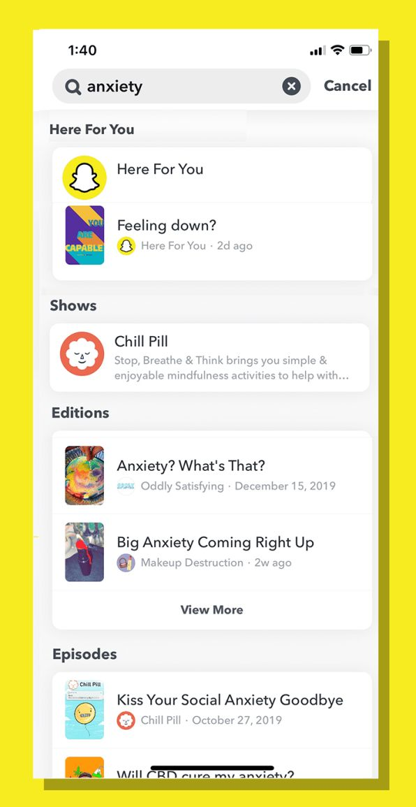 In-App Mental Health Resources