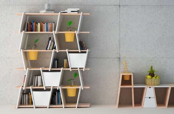 Planter-Embedded Bookshelves