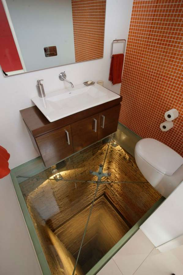 See Through Bathroom Floors High End Condo