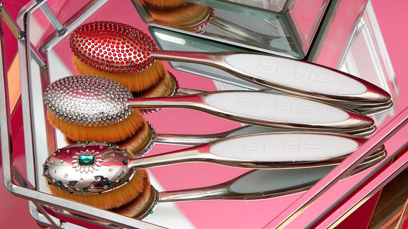 Crystal-Covered Makeup Brushes