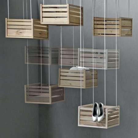 Hanging Crate Storage- Hoog En Droog Offers Innovative Solution for Clutter