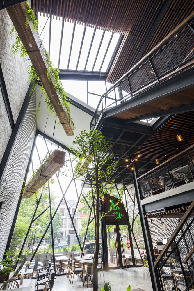 Nature-Infused Industrial Cafe Interiors