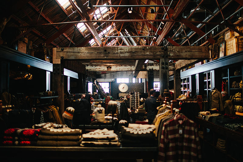 rustic retail interiors   inside a manufacturing facility