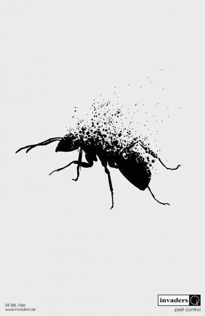 disintegrating insect ads   invaders pest control campaign