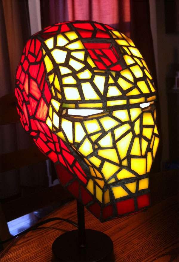 Stained Glass Superhero Lamps Iron Man Helmet Lamp