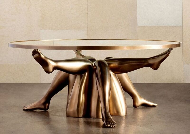 Bronzed Leg-Supported Tables