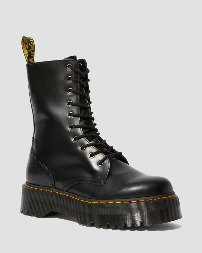 Polished Leather High-Top Boots
