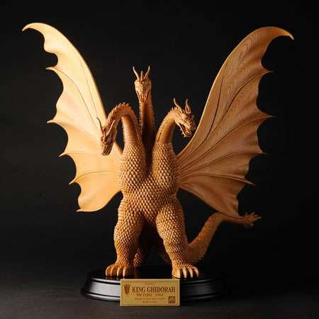 Wooden Fire-Lizard Statues