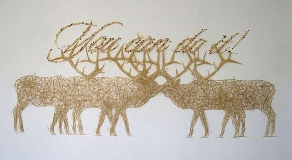 Toothpick Moose Sculptures
