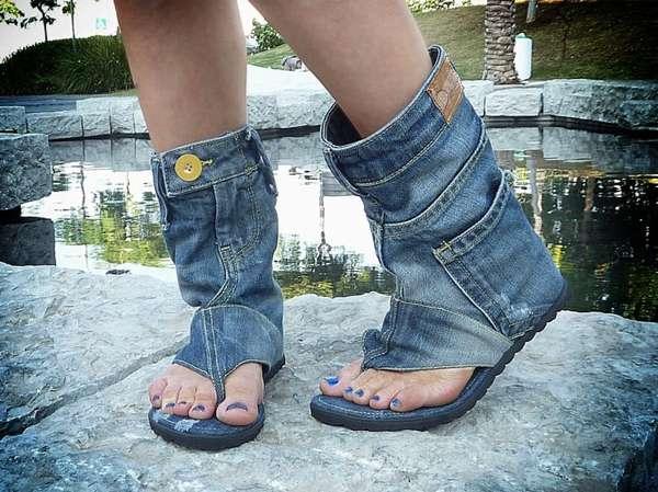 Upcycled Denim Sandals
