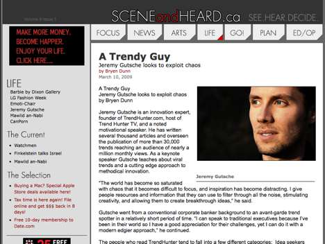 Jeremy Gutsche and TrendHunter.com Profiled on SCENEandHEARD.ca