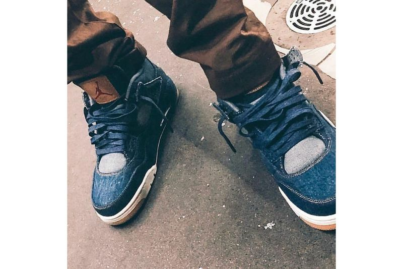 Co-Branded Denim Basketball Sneakers
