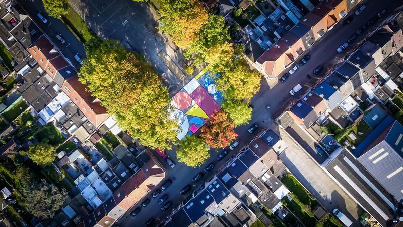 Abstractly Colorful Basketball Courts