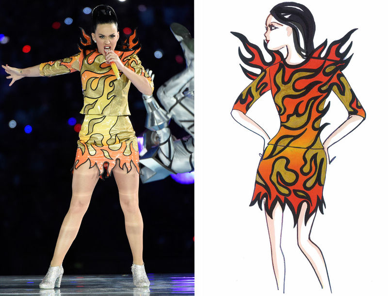 Superbowl Fashion Sketches Katy Perry Halftime