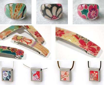 Kimono Fabric Jewelry and Acrylic Rings