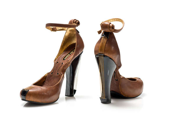 Ornate Violin-Shaped Heels
